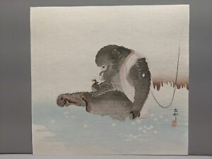 c1910 Ohara Koson Japanese Woodblock Print Monkey & Bee