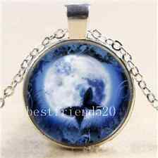 Butterfly With Moon Photo Cabochon Glass Tibet Silver Chain Pendant Necklace