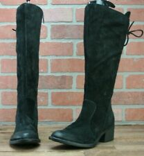 Born Women's Sz 6.5 Felicia Black Distressed Suede Zip Knee High Boots Wide Calf
