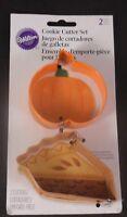 Wilton Set of 2 Metal Cookie Cutters PUMPKIN & PIE SLICE Fall Thanksgiving NEW