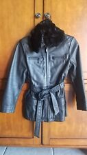 Copper Key Women Heavy Leather Jacket, Size L (10-12)Black, Removable Fur Collar