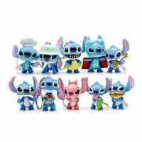 Set of 10 Disney Lilo & Stitch Keychain Pendants Figure Keyring Kids Accessories