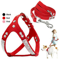 Bling Rhinestone Pet Dog Strap Harness and Leash Soft Suede for Chihuahua Yorkie