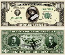 2éme GUERRE MONDIALE BILLET MILLION DOLLAR US ! Collection WWII Roosevelt Patton