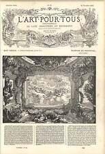 1862 D Marot somptueux plafond arrangement pilastres assemblée des Dieux Art