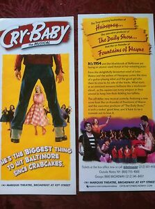 Cry Baby musical ad/flyer  John Waters  Broadway  2008 James Synder In Transit