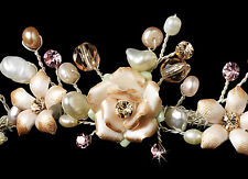 Gold Pink or Silver Porcelain Rose Pearl Bridal Wedding Tiara Headpiece