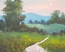 Modern Abstract Impressionist Landscape Oil Painting Moon Art Rod Moore