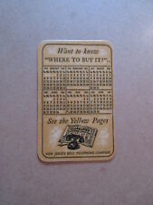 Vintage Advertising Pocket Wallet Calendar Card 1942 NJ  BELL YELLOW PAGES