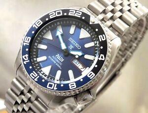 Seiko Blue Shimmer Prospex PADI Batman GMT Day Date Automatic Diver Watch SKX007