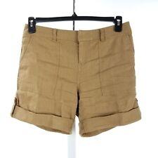Alice + Olivia Women Shorts Size 4 Brown Linen Blend Cuffed