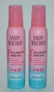 2 SALON SELECTIVES PLUMPING MOUSSE ALL DAY ANTI FRIZZ CRUNCH HOLD 4OZ