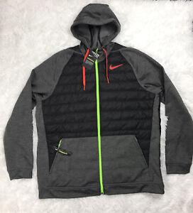 Nike Therma Winterized Full Zip Training Hoodie Size 2XL Black Green BV6298-032