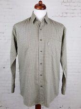 Vtg 1990s L-Sleeve Khaki Check Indie Cotton Shirt Urban -M-  EH93