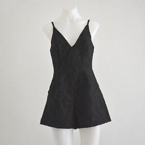 Kookai Black Textured V-Neck Playsuit Size 38