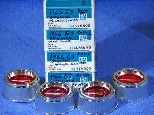 1966-1967 Buick Skylark Gransport GS Accy Ralley Wheel Medallion Center Caps NOS