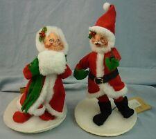 "Annalee Dolls 7"" Velour Santa & Mrs. 1992 Christmas AL567"