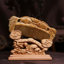 Retro crafted fishes Sandalwood Carved Wooden Fragrant no-static Comb 绿檀木梳