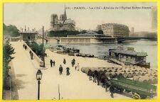 cpa 75 - PARIS La CITÉ Bateau Parisien Quai Seine ATTELAGE REMORQUE Tonneaux Vin