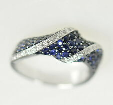 Ladies 14k White Gold Blue Sapphire & Diamond Unique Curved Band Ring