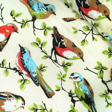 Polycotton Fabric Colourful Birds On Branches Trees Nature Leaves