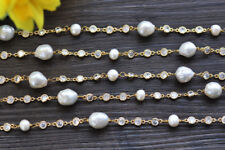 """Pearl Inlay Cz Chain Necklace P7068 70"""" 12mm Round White Edison"""