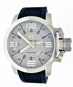 Metal Ch  1132.44B Stainless Steel Silicone Strap Grey Dial Men's Watch