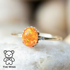 Extremely Rare Oval Mexican Fire Opal Diamond Engagement Wedding Ring 14K Gold