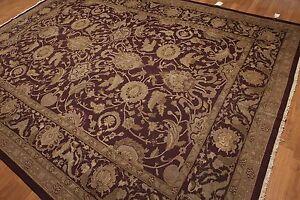 9' x 12' Hand knotted Soumak Turkish Oushak Area Rug wool flat pile Burgundy
