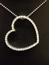 Tw Diamonds Floating Heart Pendant 18kt Solid White Gold .52 Carat