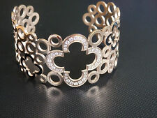 rose gold four point four leaf clover  with embedded cz stones stainless steel
