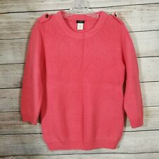 J. Crew Womens Medium 100% Merino Wool Bright Pink 3/4 Sleeve Ribbed Sweater