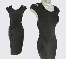 KAREN MILLEN Black Jersey Ruched Side Evening Elegant Formal Dress UK 12  EU 40