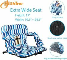 Foldable Stadium Seat for Bleachers with Back Support and Thick Padded Cushion