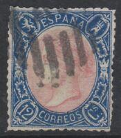 Spain - 1865, 12c Rose & Blue stamp - Used - SG 88