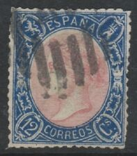 Spain - 1865, 12c Rose & Blue stamp - Used - SG 88