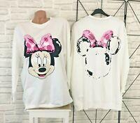 Sweatshirt Langarmshirt Pullover Pulli Tunika Print 38 40 42 Weiß P676 NEU