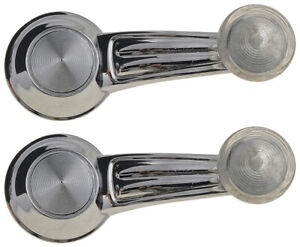 2 NEW Manual Window Crank Handles Chrome Clear Knob for 67-81 Camaro Firebird
