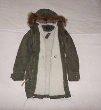 Womens Abercrombie & Fitch Fleece fur Sherpa Parka Hoodie Coat Jacket Size M, L,