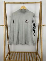 VTG 80s Team Adidas Trefoil Spellout Mock Neck Long Sleeve 50/50 T-Shirt Size  L