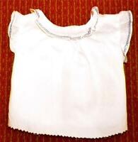 Vintage Off White Cotton Doll Shirt Blouse Blue Faggoting Trim Rubbles Clothes