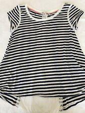 Jolt Blouse Womens Size M Blue White Stripe Open Lace Back Distressed High Low