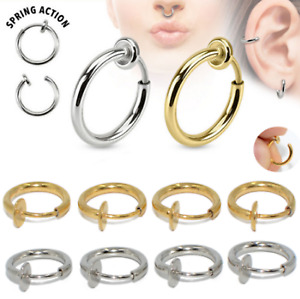 Surgical Steel Fake Spring Clip On Nose Ring Hoop Lip Ring Helix Ring Hoop