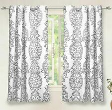 "Set of 2 Gray & White Damask Curtains Panels Drapes - Pair - 63"" Long - Grommet"