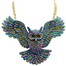 Butler and Wilson Multi AB Open Wing Owl Necklace NEW COUTURE