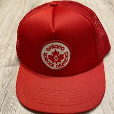 Vintage Special Olympics Hat Ontario Canada VTG 90s Snapback Red White