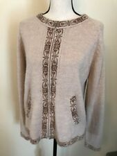 Alpaca Connection Cardigan Sweater Peru 100% Alpaca Zippered Sz Small Beige