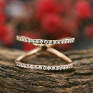 Modern Engagement Wedding Double Banded Ring 14K Rose Gold Filled 2.38Ct Diamond