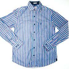 US Polo Assn Mens Blue Strip Long Sleeve Button Up Shirt Size Small