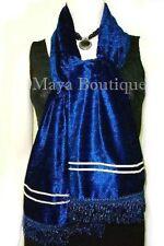 Crushed Velvet Scarf Wrap Maya Matazaro Navy Blue Made In Usa